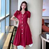 洋裝 夏日少女蝴蝶結V領紅色收腰連身裙女顯瘦氣質中長款裙子8687 T528-A 韓依紡