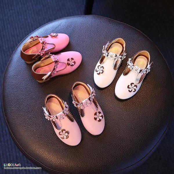 現貨出清女童皮鞋公主鞋秋新款韓版女童鞋寶寶鞋兒童單鞋鑽石花豆豆鞋 僅此一件
