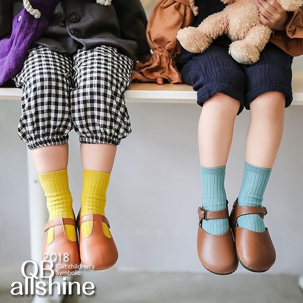 簡約百搭雙針精梳棉男女童短襪