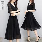 洋裝-夏裝新款收腰大碼女裝V領中長款減齡胖mm雪紡連身裙寬松遮肚 Korea時尚記