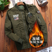 軍裝外套-立領加絨寬鬆胸章休閒男夾克3色73wn11[巴黎精品]