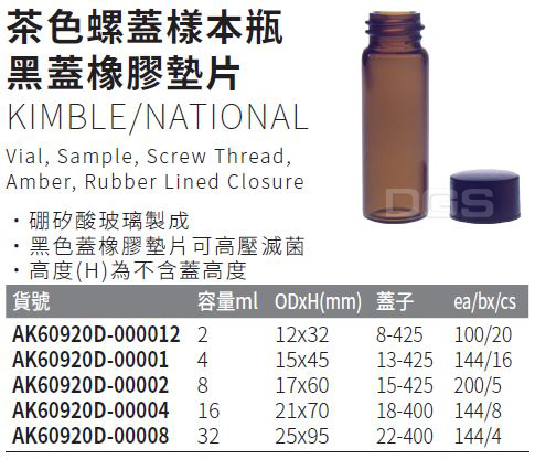 《KIMBLE/NATIONAL》茶色螺蓋樣本瓶 黑蓋橡膠墊片 Vial, Sample, Screw Thread, Amber, Rubber Lined Closure