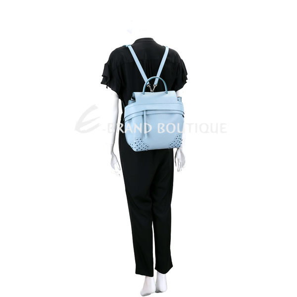 TOD'S Wave 小款 豆豆裝飾牛皮多用法後背包(天藍色) 1920045-27