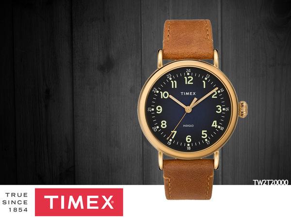 【時間道】TIMEX天美時 經典簡約復刻腕錶– 深藍面金殼淺棕皮(TW2T20000)免運費