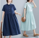 洋裝~連身裙~棉麻洋裝~娃娃領短袖連衣裙~棉麻女裝 襯衫領長裙1980.MB104衣時尚