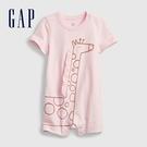 Gap嬰兒 純棉立體動物短袖包屁衣 682724-淺粉色