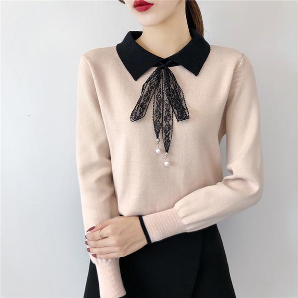 清倉288 韓國風蕾絲蝴蝶結純色修身長袖上衣