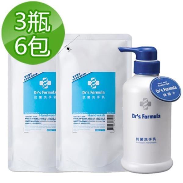 【南紡購物中心】《台塑生醫》Dr s Formula抗菌洗手乳400ml(3瓶+6包)