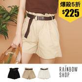 純色顯瘦高腰花苞鬆緊短褲-NN-Rainbow【A966011】