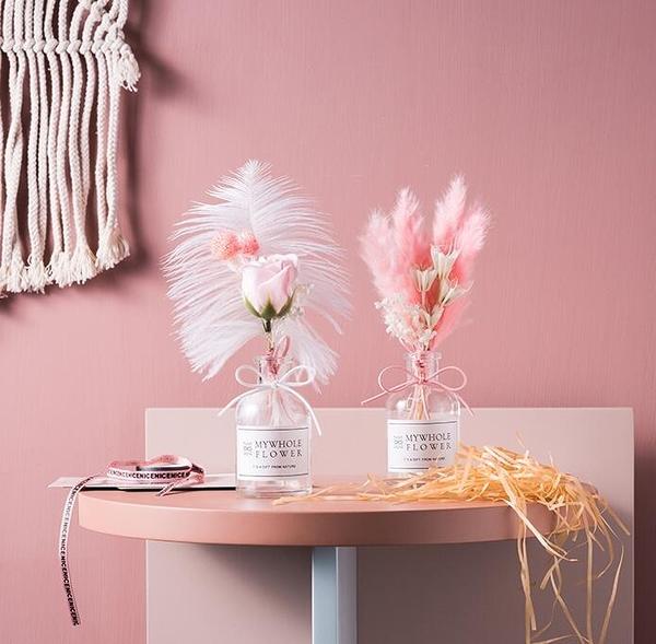 居家掛飾ins滿天星干花小花束帶花瓶真花擺設裝飾風干永生花擺件晴天時尚