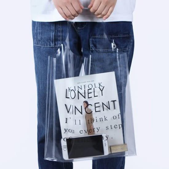 購物袋 果凍包 手提袋 透明包 防水包 買菜 購物 單肩包 肩背包 個性透明包 ✭米菈生活館✭【A24】