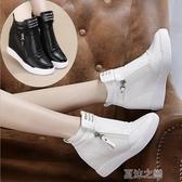 樂福鞋-秋季新款女鞋內增高坡跟休閑旅游鞋白色韓版百搭秋鞋 夏沫之戀