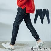 彈性縮口褲【P1842】OBIYUAN 韓版單寧素面長褲 彈性牛仔褲