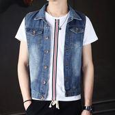 青少年學生韓版潮流牛仔馬甲男士休閒無袖外套牛仔背心坎肩男裝春 美芭