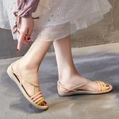 夏季軟底塑料涼鞋女海邊沙灘洞洞鞋防滑魚嘴大碼平跟水晶果凍鞋女