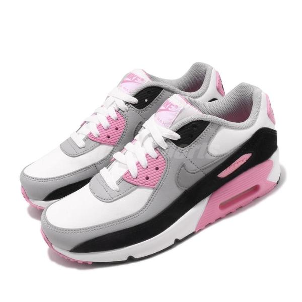 Nike 休閒鞋 Air Max 90 LTR GS 白 粉紅 女鞋 大童鞋 運動鞋 【PUMP306】 CD6864-104