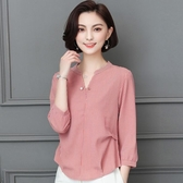 遮肚子雪紡衫長袖女士2018秋季新款韓版百搭洋氣小衫氣質時尚上衣