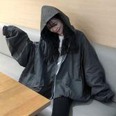 春季女裝韓版中長款原宿風復古工裝寬鬆百搭連帽夾克開衫上衣外套