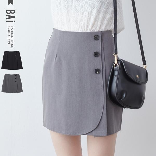 褲裙 斜片側排釦類西裝質感短裙S-L號-BAi白媽媽【190831】