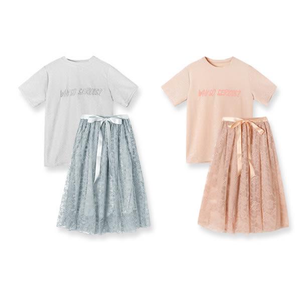★現貨★MIUSTAR 兩件式!Why立體刺繡銀蔥上衣+鬆緊腰緞帶蕾絲裙(共2色)【NF1284PW】