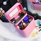 大容量化妝包 雙層便攜手提化妝箱 大號簡約化妝品收納盒 旅行小方包 降價兩天