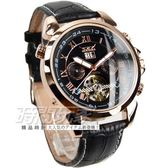 JARAGAR 全自動機械雙日曆腕錶 皮革男錶 真三眼 防水手錶 簍空 玫瑰金 J597玫黑