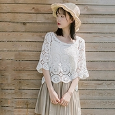 短袖罩衫-蕾絲勾花鏤空寬鬆圓領女上衣74ab16【時尚巴黎】