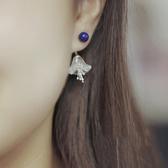 天然青金石白水晶純銀花朵兩用耳墜/設計家
