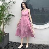 【免運】秋裝2019新款 夏季大碼女裝高腰顯瘦V領白色收腰吊帶連衣裙子女