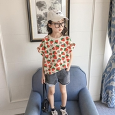 女童短袖T恤2020年夏季新款中大童韓版洋氣寬鬆草莓上衣兒童夏裝