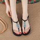 平底森女系甜美花朵涼鞋女夏海邊度假百搭沙灘鞋女2021新款人字拖 果果輕時尚