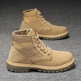 馬丁靴男秋季新款復古英倫風中幫工裝靴潮流休閒百搭高筒沙漠軍靴