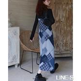 格子V領修身顯瘦復古小眾洋裝收腰吊帶無袖拼接設計感長裙秋雙十一特價