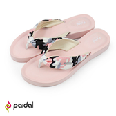 Paidal 甜美迷彩帆布抓皺厚底夾腳涼拖鞋-粉紅