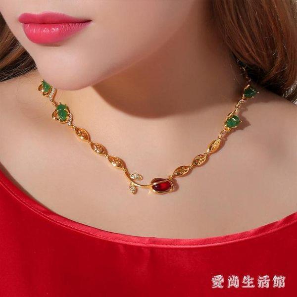 仿金飾品 鍍黃金項鏈女小葫蘆項鏈吊墜復古風時尚仿金配飾女款TL500『愛尚生活館』