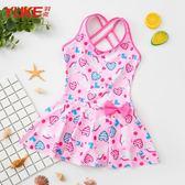 兒童泳衣女童韓版連體公主裙式寶寶可愛游泳衣女孩學生泡溫泉泳裝 超值價