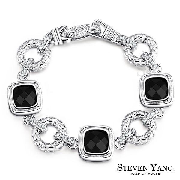 手鍊STEVEN YANG正白K飾「古典優雅」黑瑪瑙 高貴名媛款