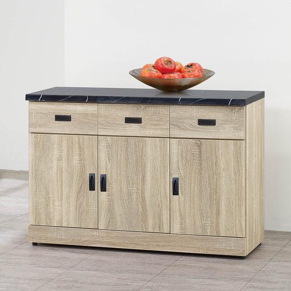【森可家居】法克橡木4尺石面餐櫃下座 8SB302-3 中島廚房碗盤收納 木紋質感 無印北歐風 MIT台製