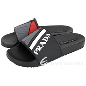 PRADA 標籤系列 色塊拼接橡膠拖鞋(黑色)1920640-01
