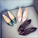 尖頭平底鞋歐美尖頭淺口平跟OL平底鞋工作...