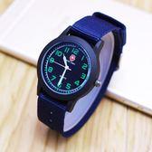 男孩大方可愛帆布手錶 學生考試熒光夜光腕錶 兒童防水數字電子錶