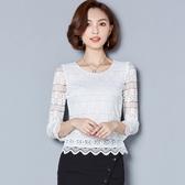 蕾絲上衣-長袖圓領純色鏤空條紋女T恤2色73px48[巴黎精品】