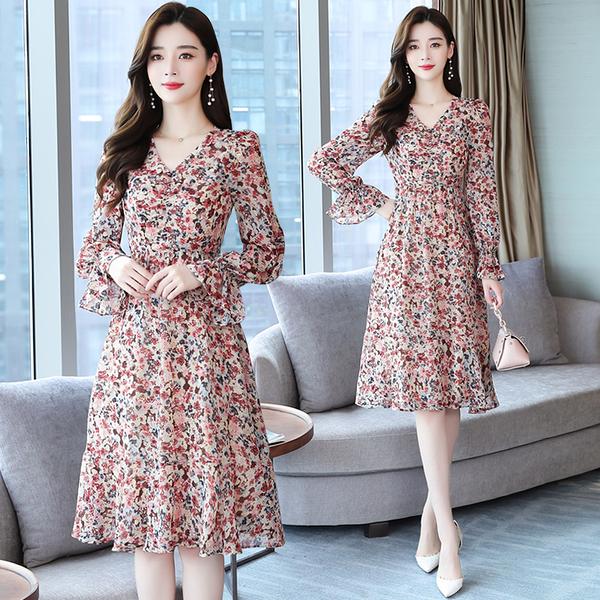 出清388 韓國風復古碎花荷葉袖V領優雅氣質長袖洋裝