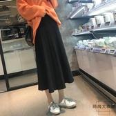 孕婦半身長裙女可調節秋裝中長款百褶寬松針織【時尚大衣櫥】
