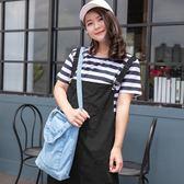 Poly Lulu 純色吊帶裙條紋T恤兩件式套裝-黑【92270366】