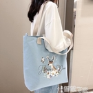 帆布包 帆布包女側背包斜背包包日系學生韓版大包帆布袋大容量手提袋 智慧 618狂歡