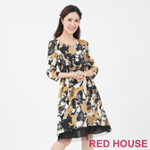 【RED HOUSE 蕾赫斯】V領花朵透紗洋裝(卡其色)