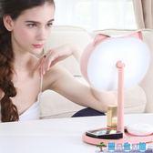 帶燈臺式便攜折疊公主臥室大號書桌面簡約LED化妝鏡 LY3769『愛尚生活館』