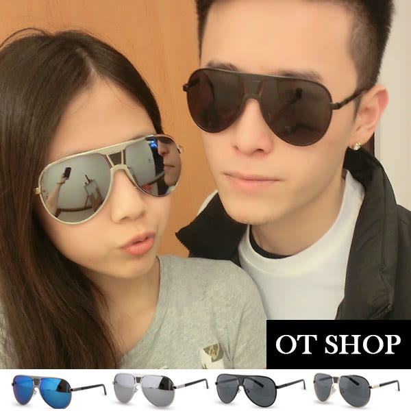 OT SHOP太陽眼鏡‧抗UV400中性情侶款復古時尚明星雷朋墨鏡‧金框黑色/白反光‧現貨2色‧G51