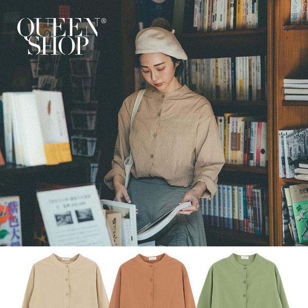 Queen Shop【01023637】中山領素面棉麻襯衫 三色售*現+預*